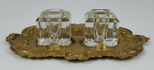 AntiqueVictorian Brass & Glass Double Inkwell