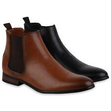 Herren Stiefel Chelsea Boots Holzoptikabsatz Klassische 835125 Schuhe