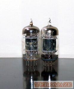Matched Pair GE 5751/12ax7/ECC83 Black Plates Triple Mica tubes - Test NOS