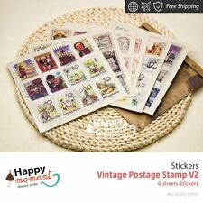 Vintage Postage Stamp V2 Stickers Embellishments Weekly Kit Child Sweet 6 sheets