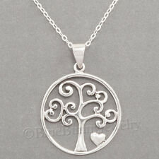 """TREE of LIFE Necklace Heart charm Pendant STERLING SILVER 925 & 18"""" .925 chain"""