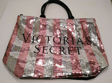 Victoria's Secret Oversize Tote Bag Pink and Silver Sequined Never Used