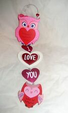 VTG Valentine Card Owl Wall Hanging Heart Valentine's Day Party Wedding Decor