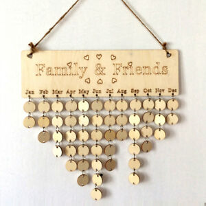 DIY Wooden Birthday Family&Friends Hanging Calendar Board Birthday Reminder UK