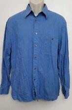 Metropolitan View Mens Shirt Large Button Up Blue Plaid 100% Cotton L/S Italy