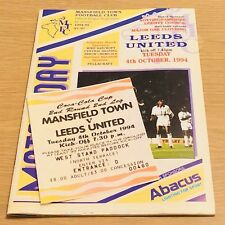 Mansfield Town v LEEDS UNITED PROGRAMME Coca Cola Cup (4th Oct 1994) With Ticket