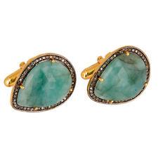 Emerald Gemstone And Pave Diamond Cufflinks 925 Silver Mens Fashion Jewelry