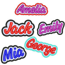 "NAME PATCH 3.5"" PERSONALISED EMBROIDERED IRON ON SEW ON TAG BIKER HAT SCHOOL"