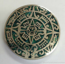 ESTATE JEWELRY MALACHITE AZTEC MAYAN CALENDAR STERLING SILVER ROUND PIN/PENDANT