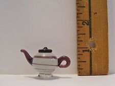 MINIATURE FASHION DOLL ACCESSORY HANDBLOWN GLASS COFFEE TEA POT DRINK PITCHER