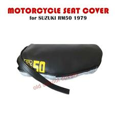 SUZUKI RM RM 50 1979 SEAT COVER with YELLOW RM50 LOGOS PLUS SEAT STRAP