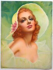 "Pearl Frush Brudon 1930s untitled Glamour Girl art deco print 9"" x 12"" Ӝ"