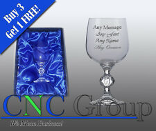 Personalised Engraved Crystal Wine Glass Goblet With Satin Gift Box Birthday