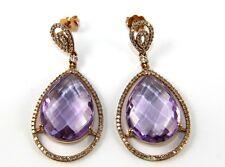 Fine Pear Cut Purple Amethyst & Diamond Drop Earrings 14K Rose Gold 27.98Ct