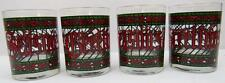 SEASON'S GREETING VINTAGE HOUGE RED / GREEN HOLIDAY LOW BALL TUMBLER GLASSES - 4