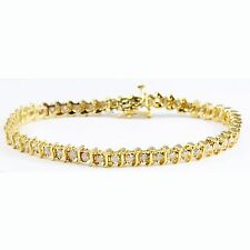 ESTATE 14k Yellow Gold S Link Round Brilliant Diamond Tennis Bracelet 1.00 TCW