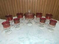 10pc Vint. INDIANA GLASS CRANBERRY RED KINGS CROWN THUMBPRINT Candy Dish Goblets