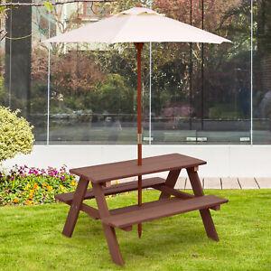 Kids Children Garden Picnic Table Bench Umbrella Parasol Set Outdoor Garden