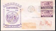 1936 Arkansas Centennial Stamp Sc782-28 Unknown Cachet Maker FDC