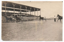 1910 Photo of Race Track with three Horse & Sulky Harness Racers