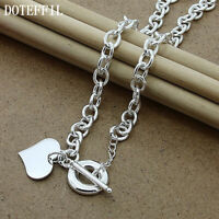 Silver Plated Heart Charm Tag Toggle Necklace Fashion Link Chain Jewelry