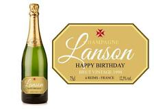PERSONALISED CHAMPAGNE GOLD BIRTHDAY LABEL