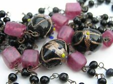 "Vintage Venetian Murano Black Glass Wedding Cake Bead Double Strand 36"" Necklace"