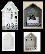 Letter Rack & Key Holder House Hooks Storage Wall Hanging White Natural Vintage