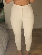 Topshop Moto Ladies Plaited White Joni Skinny Jeans By W30 L32 (Size 12)
