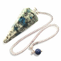 K2 Stone Dowsing Pendulum Crystal Raindrop Azurite Malachite Polished Granite