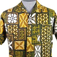 Made in Hawaii Hawaiian Shirt Aloha Friday Tiki Tapa Mens Size S Green Gold Brwn