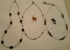 Sterling Silver Necklace Earring Lot Faceted Glass Crystal 2 earrings 3 Necklace