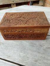 Wood Carved Box Floral Design Hinged Lid Indian?