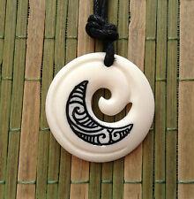 AU#387 Pretty Carved Koru Tribal Maoris NZ Amulet Yak Bone Pendant Necklace Gift