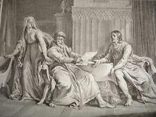 GRAVURE XVIIIe / EXPLICATION DE LOUIS LE GROS AVEC SON PÈRE AN 1103