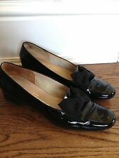 Salvatore Ferragamo Sz 8 2A Womens Black Patent Leather Bow Loafer Shoes Italy