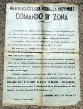 VARESE REPUBBLICA SOCIALE RARISSIMO MANIFESTO PER ARRUOLAMENTO LEGIONARI MILIZIA