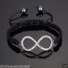 Crystal Eternal Forever Love Infinity Symbol Shamballa BraceletS