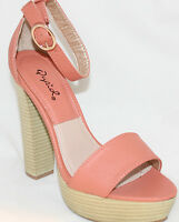 Elegant Dress Sandals Open-toe Coral Pink Chunky Heels Ankle Strap Women's Shoes