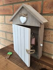 Caja de madera de la Casa Blanca clave Armario Rústico Corazón Shabby Vintage 5 ganchos de almacenamiento de información