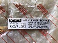 FJ40 BJ40 BJ42 FJ43 HJ47 FJ45 Air Cleaner Decal New OEM