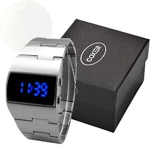 Mens Retro Dull Polish Stainless Steel Strap Digital Led Wrist Watches Silver