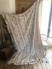 Vintage coverlet cotton filet lace CROCHET trimmed floral pattern c1950