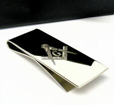 Personalised Silver Masonic G Compass and Square Money Clip Engraved