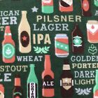 Beer Fabric 1/4 Yard Craft Bottles Pint New Novelty Multicolor Rare Flannel