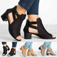 Womens Western Cowboy Sandals Ankle Boots Chunky Block Heels Buckle Casual Shoes