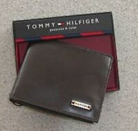 $0 Free Ship Tommy Hilfiger Men/'s Genuine Leather Wallet with Bill Metal Clip