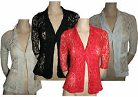 Ladies Women's Summer Lace Blazer Open Front Suits Fancy Coats Jackets Tops 8-16