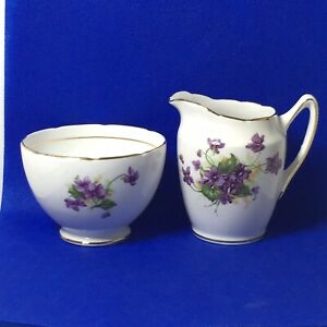 Duchess Bone China Creamer Open Sugar Bowl England Purple Flowers Gold Trim Vtg