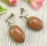 Antique Vintage Hazelnut Screw Back Drop Earrings